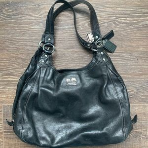Coach Genuine Black Leather Madison Satchel Bag
